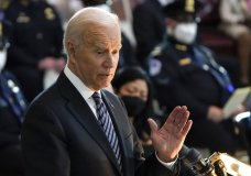"""President Joe Biden speaks during a ceremony to honor slain U.S. Capitol Police officer William """"Billy"""" Evans as he lies in honor at the Capitol in Washington, Tuesday, April 13, 2021. (AP Photo/J. Scott Applewhite, Pool)"""