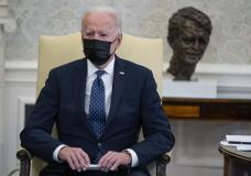 President Joe Biden speaks during a meeting with members of the Congressional Hispanic Caucus, in the Oval Office of the White House, Tuesday, April 20, 2021, in Washington. Biden said Tuesday that...