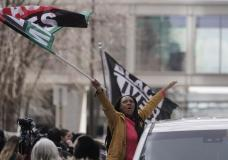 Peoplke cheer after a guilty verdict was announced at the trial of former Minneapolis police Officer Derek Chauvin for the 2020 death of George Floyd, Tuesday, April 20, 2021, in Minneapolis, Minn....