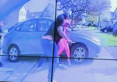 In an image from police bodycam video that the Columbus Police Department played during a news co...
