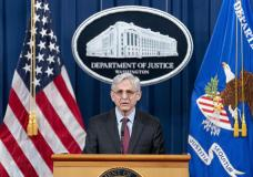 Attorney General Merrick Garland speaks about a jury's verdict in the case against former Minneap...