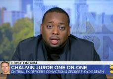 In this image from video provided by ABC News/Good Morning America, Brandon Mitchell, a juror who cast one of the unanimous votes to convict a white former Minneapolis police officer of killing George Floyd shared his experiences of being on the jury during the trial and deliberations on Wednesday, April 28, 2021. Mitchell is the first juror that deliberated in Derek Chauvin's trial to talk publicly. (ABC News/Good Morning America via AP)