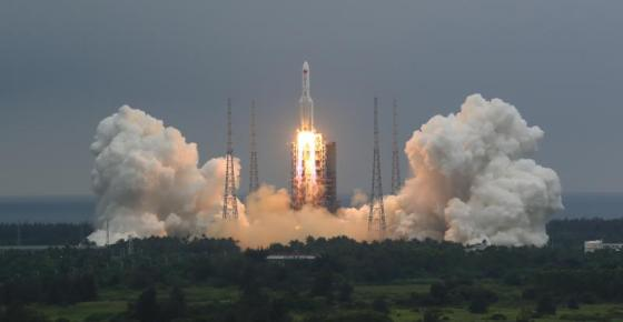 FILE - In this April 29, 2021, file photo released by China's Xinhua News Agency, a Long March 5B rocket carrying a module for a Chinese space station lifts off from the Wenchang Spacecraft Launch Site in Wenchang in southern China's Hainan Province. China's government defended its handling of a rocket booster that burned up over the Indian Ocean and said Monday, May 10, 2021 it was unfairly being held to different standards than the U.S. and other space programs. (Ju Zhenhua/Xinhua via AP, File)