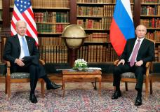 U.S President Joe Biden, left, and Russian President Vladimir Putin pose for media during their meeting at the 'Villa la Grange' in Geneva, Switzerland in Geneva, Switzerland, Wednesday, June 16, 2021. (Mikhail Metzel/Pool Photo via AP)