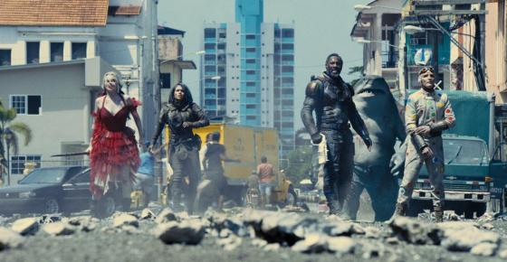 """This image provided by Warner Bros. Pictures shows Margot Robbie, from left, Daniela Melchior, Idris Elba and David Dastmalchian in a scene from """"The Suicide Squad."""" (Warner Bros. Pictures via AP)"""