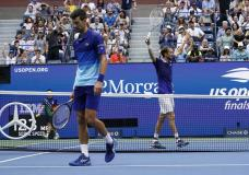 Daniil Medvedev, of Russia, reacts after scoring a point against Novak Djokovic, of Serbia, during the men's singles final of the US Open tennis championships, Sunday, Sept. 12, 2021, in New York. (AP Photo/Elise Amendola)