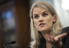 Former Facebook employee and whistleblower Frances Haugen testifies during a Senate Committee on Commerce, Science, and Transportation hearing on Capitol Hill on Tuesday, Oct. 5, 2021, in Washington. (Drew Angerer/Pool via AP)