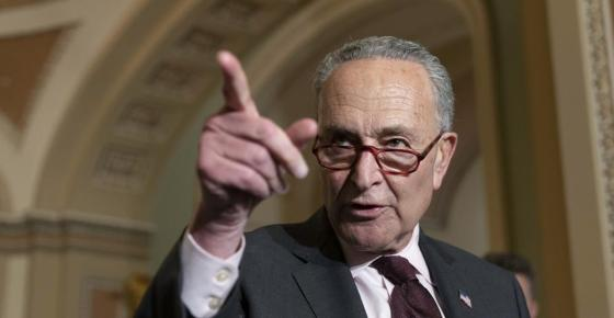 Senate Majority Leader Chuck Schumer of N.Y., calls on a reporter as he speaks after a Democratic policy luncheon, Tuesday, Oct. 19, 2021, on Capitol Hill in Washington. (AP Photo/Jacquelyn Martin)