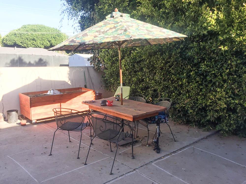 urban gardening patio and planter [Front Yard Veggies]