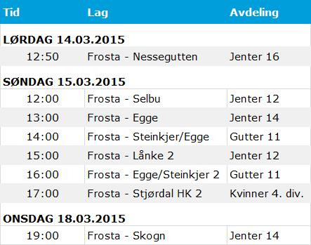 Kampoversikt håndballkamper i Frostahallen 14-18.03.2015