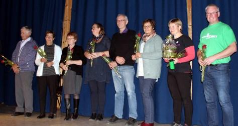 Tidligere rådgivere i Frosta 4H, fra venstre: Kåre H. Ulvik, Helga Hovdal, Randi Myhr Asklund, Marit Kristin Røstad Haugan, Ola Hjelde, Brit Inger Flægstad, Anne Oldervik og Hallgeir Ulvik