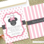 minnie mouse pink polka dot and stripes invitation www.frostedevents.com