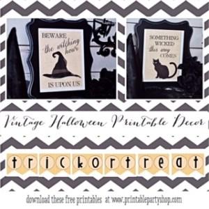 Vintage Halloween Printable Decorations www.printablepartyshop.com Free Printables
