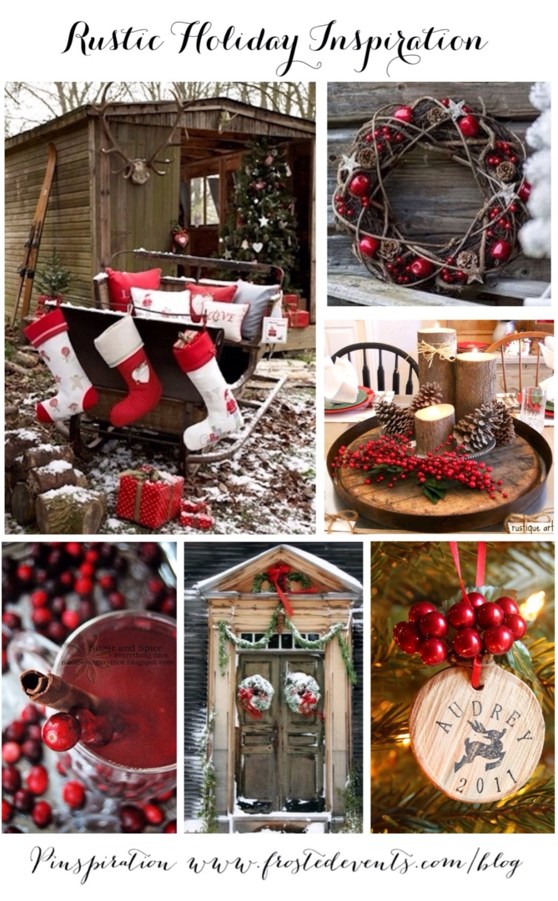 Rustic Christmas decorations Rustic Holiday Inspiration www.frostedevents.com Christmas Ideas