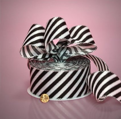 Black Diagonal Stripe Ribbon