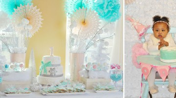 Winter Wonderland First Birthday Party- Frosted Events www.frostedevents.com @frostedevents Cute baby girl birthday party with gorgeous pastel dessert table