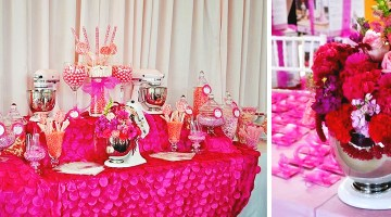 Pink Dessert Table Candy Bar La Vie en Rose Breast Cancer Luncheon Sponsored by KitchenAid| Frosted Events frostedevents.com Breast Cancer Luncheon sponsored by Kitchen Aid