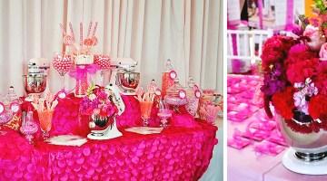 Pink Dessert Table Candy Bar La Vie en Rose Breast Cancer Luncheon Sponsored by KitchenAid  Frosted Events frostedevents.com Breast Cancer Luncheon sponsored by Kitchen Aid