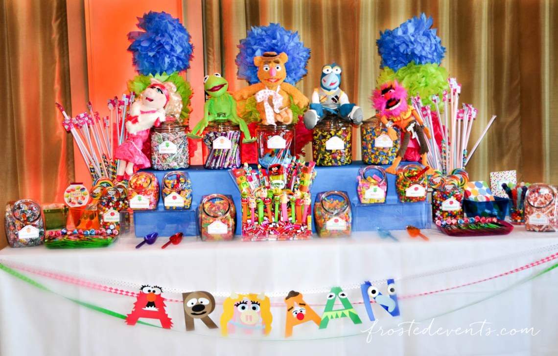 The Muppet Show - Muppets TV Show- The Muppets Show- Muppets Party Birthday - #muppets muppet dessert table muppet candy bar muppet banner