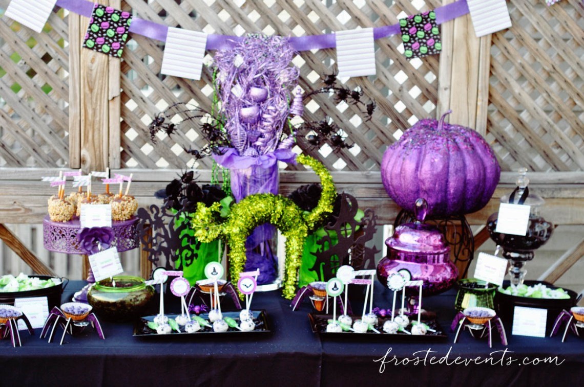 Purple and Green Halloween Dessert Table! Halloween Party Themes - Monster Mash Fun Halloween Party for Kids Ideas + Halloween Printables