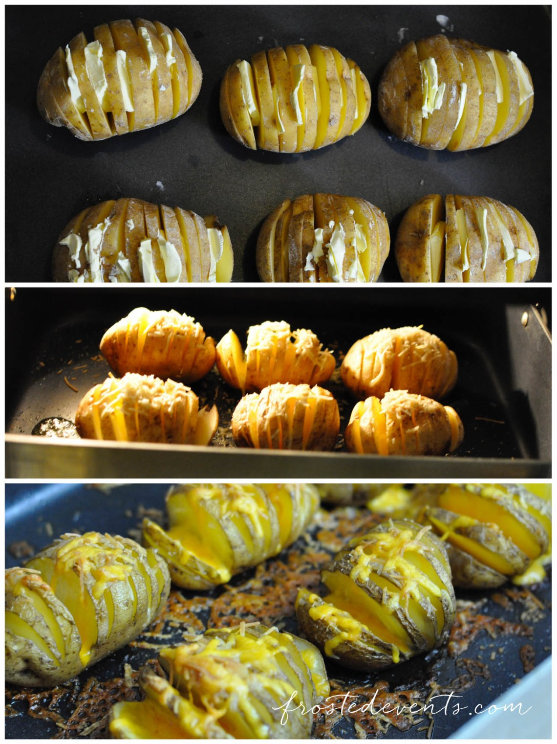 Hasselback Potatoes Recipe for a Fall Dinner Party with Barber Stuffed Chicken @frostedevents @barberfoods #dinner
