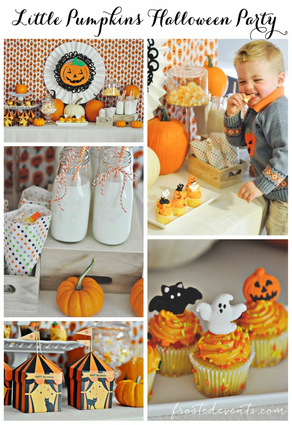 collage-03-halloween-ideas-for-kids-halloween-party-pumkin-theme-frostedeventscom