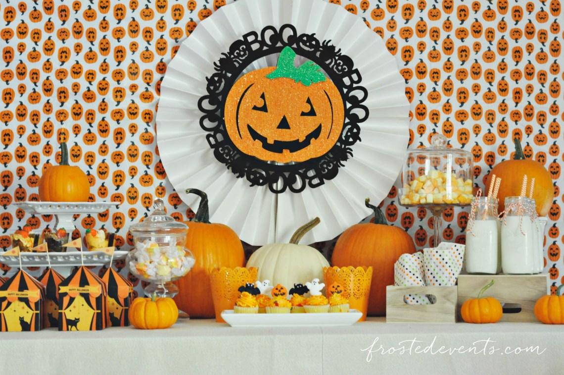 Halloween Party for Kids - Pumpkin Party ideas, halloween party treats, halloween desserts and more fun Halloween ideas via mom blogger Misty Nelson @frostedevents Halloween dessert table Pumpkin theme orange