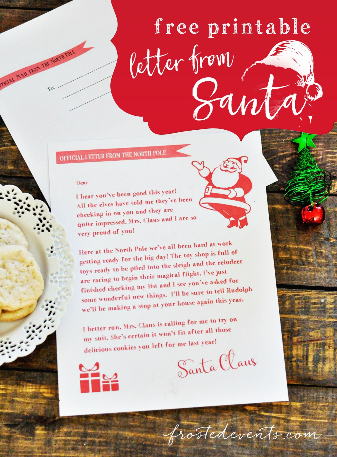 Letter from Santa Free Printable from @frostedevents Misty Nelson mom blogger frostedMOMS Christmas printables and activities for kids