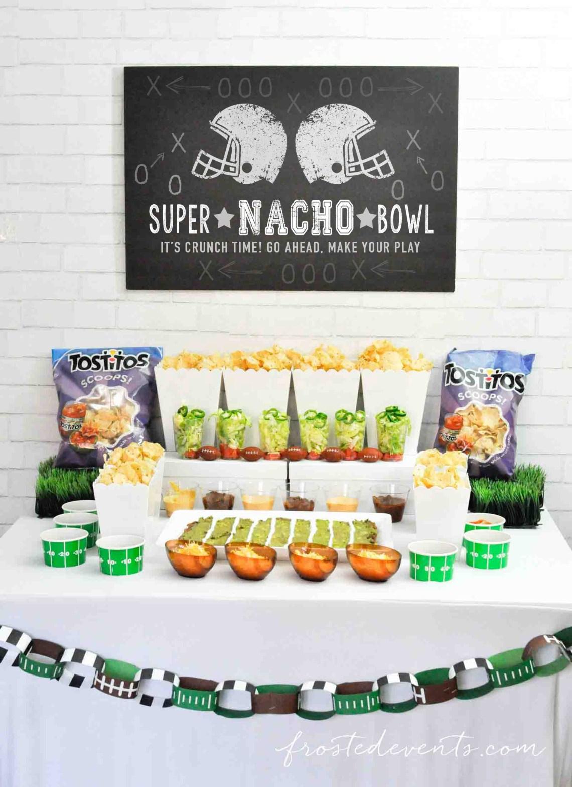 Football Party Ideas- Football party food- Super Bowl Nacho Bar with Tostitos Food Ideas