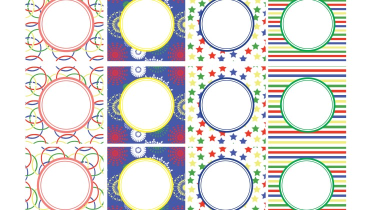 Party Circles Favor Tags -Olympics Blank