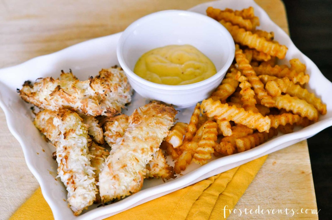 Baked Chicken Tenders Recipe- Coconut Chicken Strips and Tasty McCain Seasoned Fries -- Easy dinner ideas via Misty Nelson Frosted Moms Blog @frostedevents