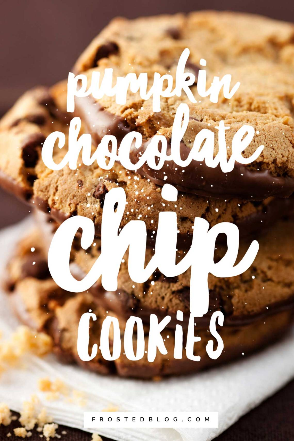 Pumpkin Chocolate Chip Cookies Recipe - Fall Treats - Halloween Food + halloween recipes via Misty Nelson frostedblog.com @frostedevents