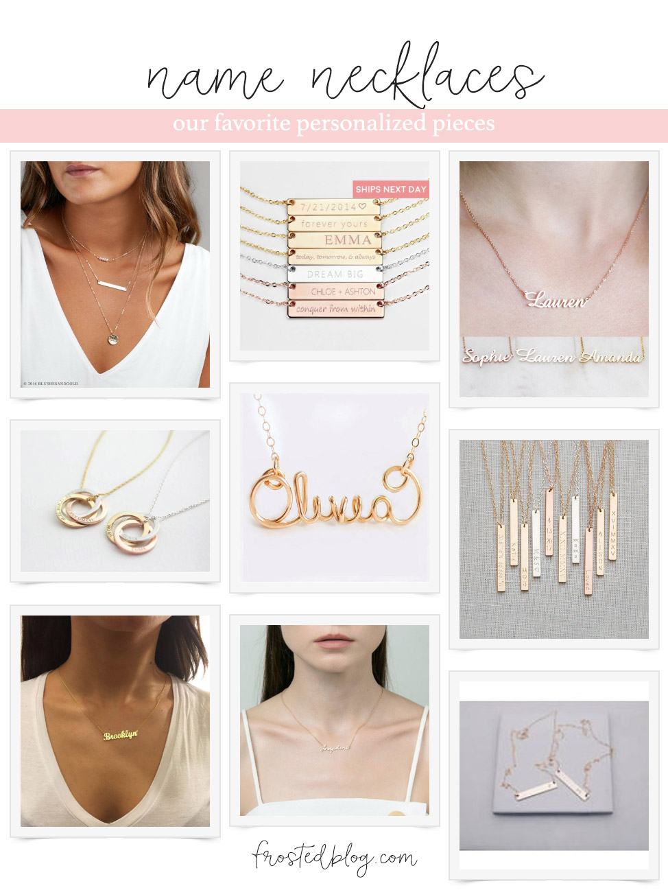 Name Necklace - Our Favorite Personalized Pieces and Where to Shop for Custom Jewelry via frostedblog frostedevents.com @frostedevents #namenecklace #jewelry #fashion