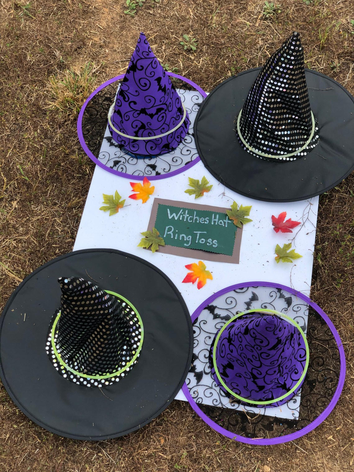 Halloween Games for Kids - Witches Hat Ring Toss - Fun Kids Games via Misty Nelson, mom blogger @frostedevents