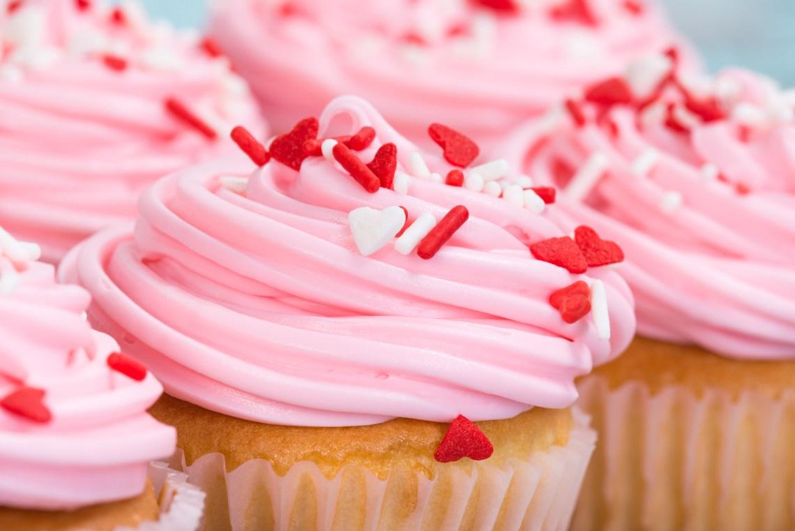 Valentines Day Treats -Sprinkle cupcakes