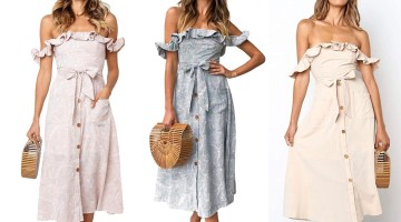 Amazon dress vintage ruffle off shoulder with pockets - Amazon fashion influencers