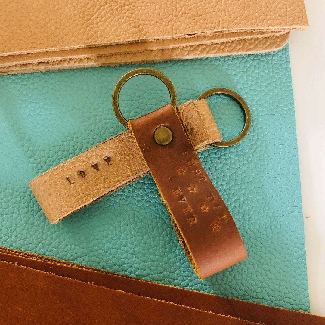 Stamped Leather Keychain