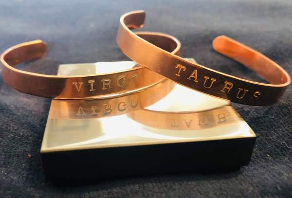 Zodiac Sign CStamped Copper Bracelet