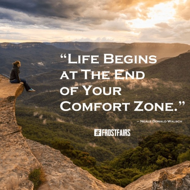 young girl sitting on a cliff edge with motivational success quote about breaking out of your comfort zone