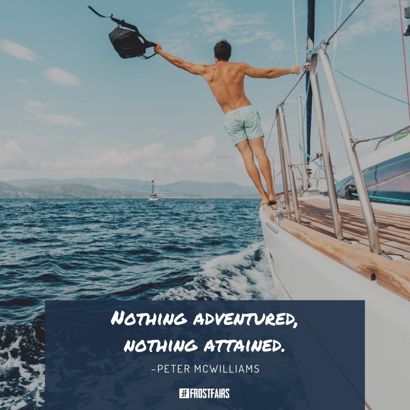 inspirational quote by Peter McWilliams on the image of a man sailing across the ocean