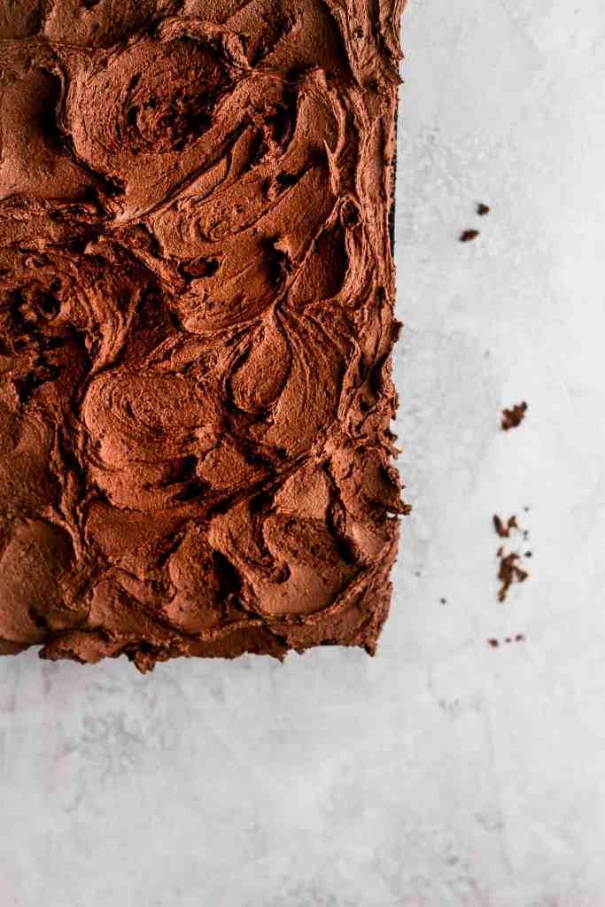 Swirls of chocolate buttercream on a moist chocolate cake.