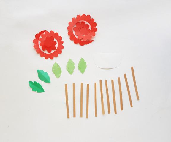 cut outs for paper flower bouquet basket
