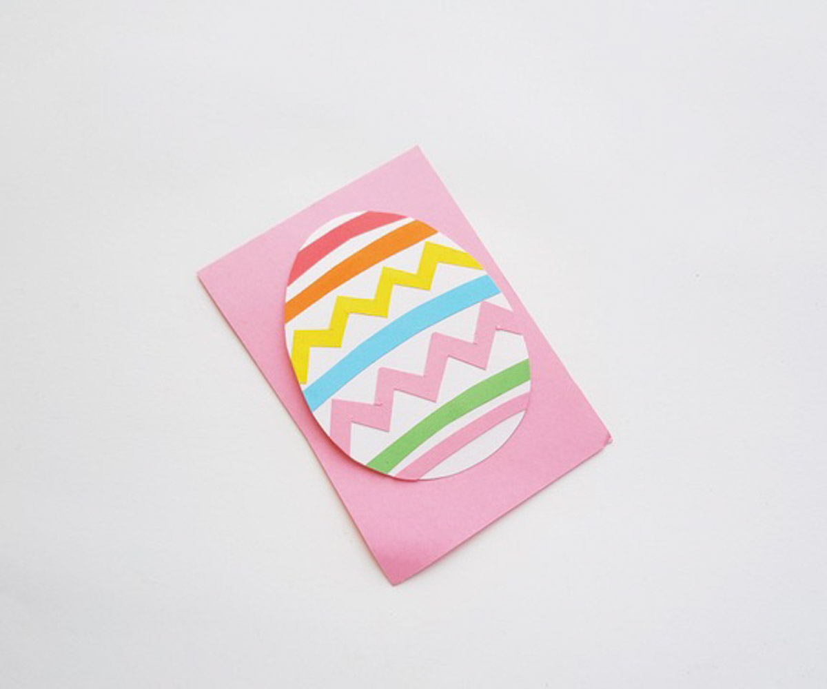 Easter egg paper craft on pink paper