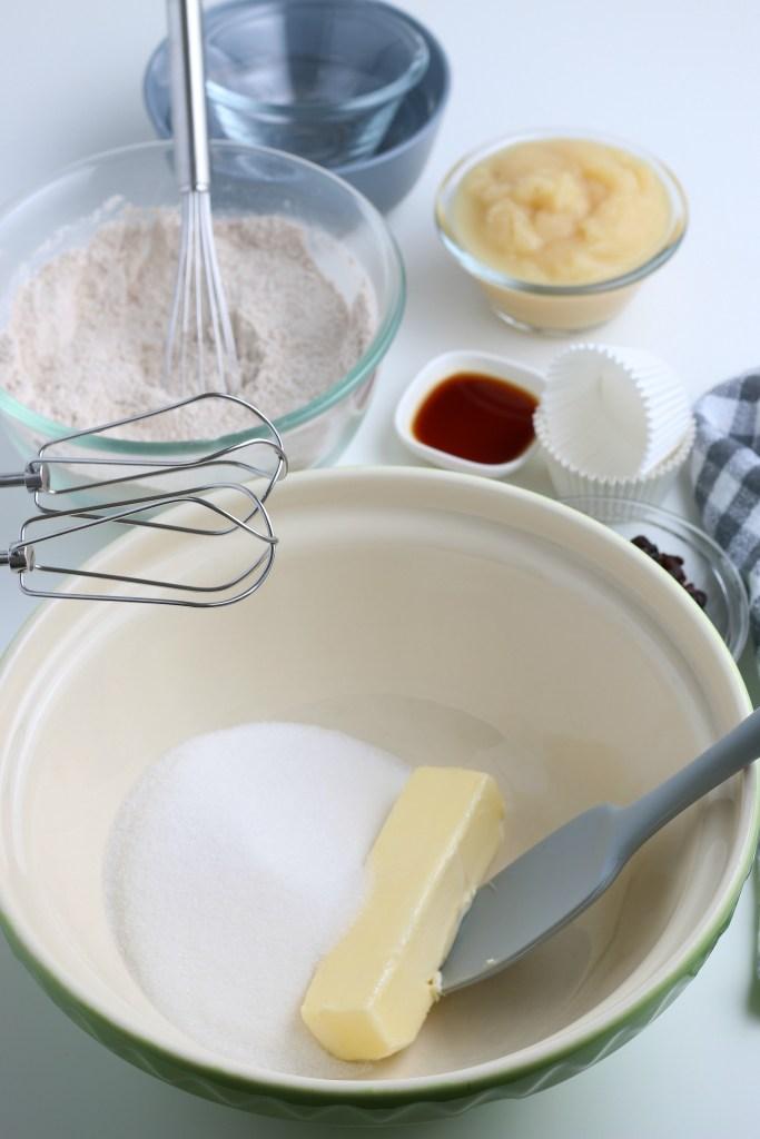 process shot of applesauce muffins