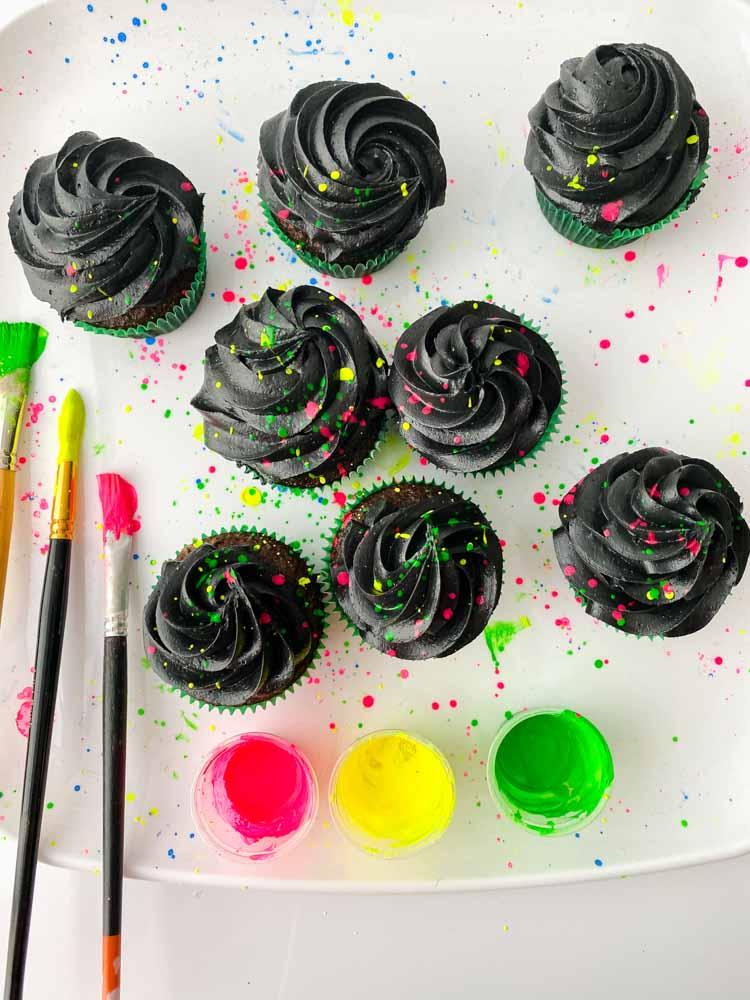process shot of glow in the dark cupcakes