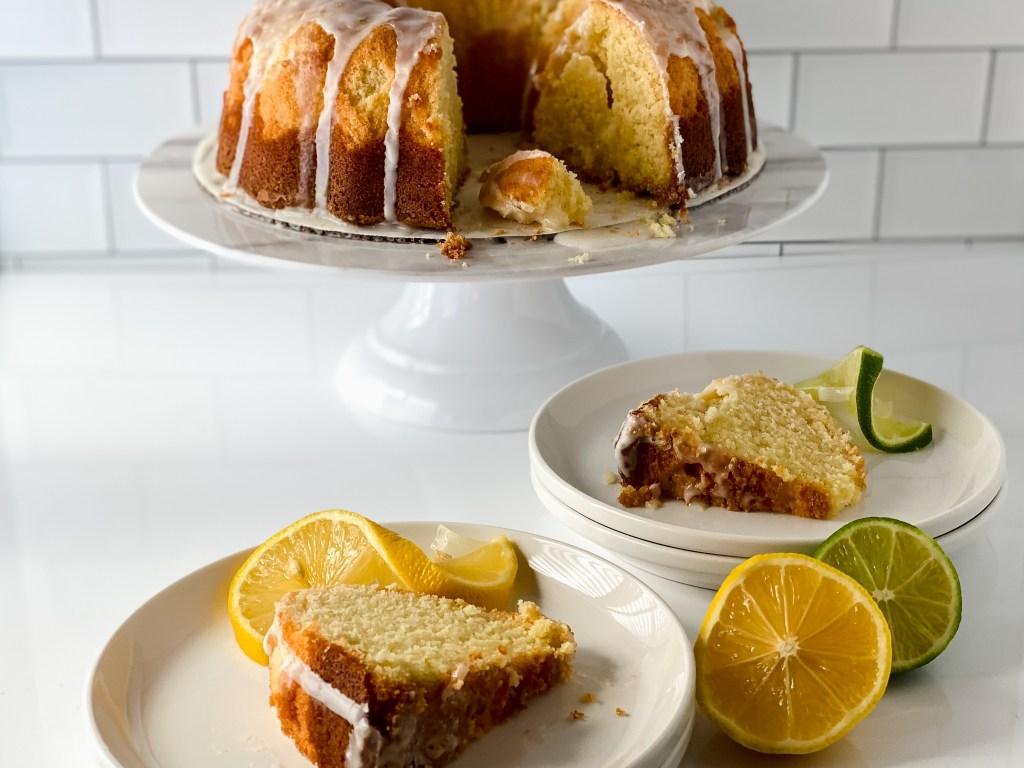 lemon lime pound cake on plates with lemon and lime slices