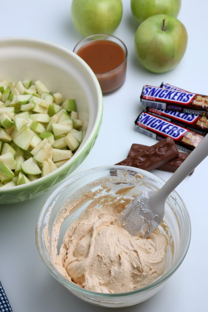 process shot of snickers apple salad