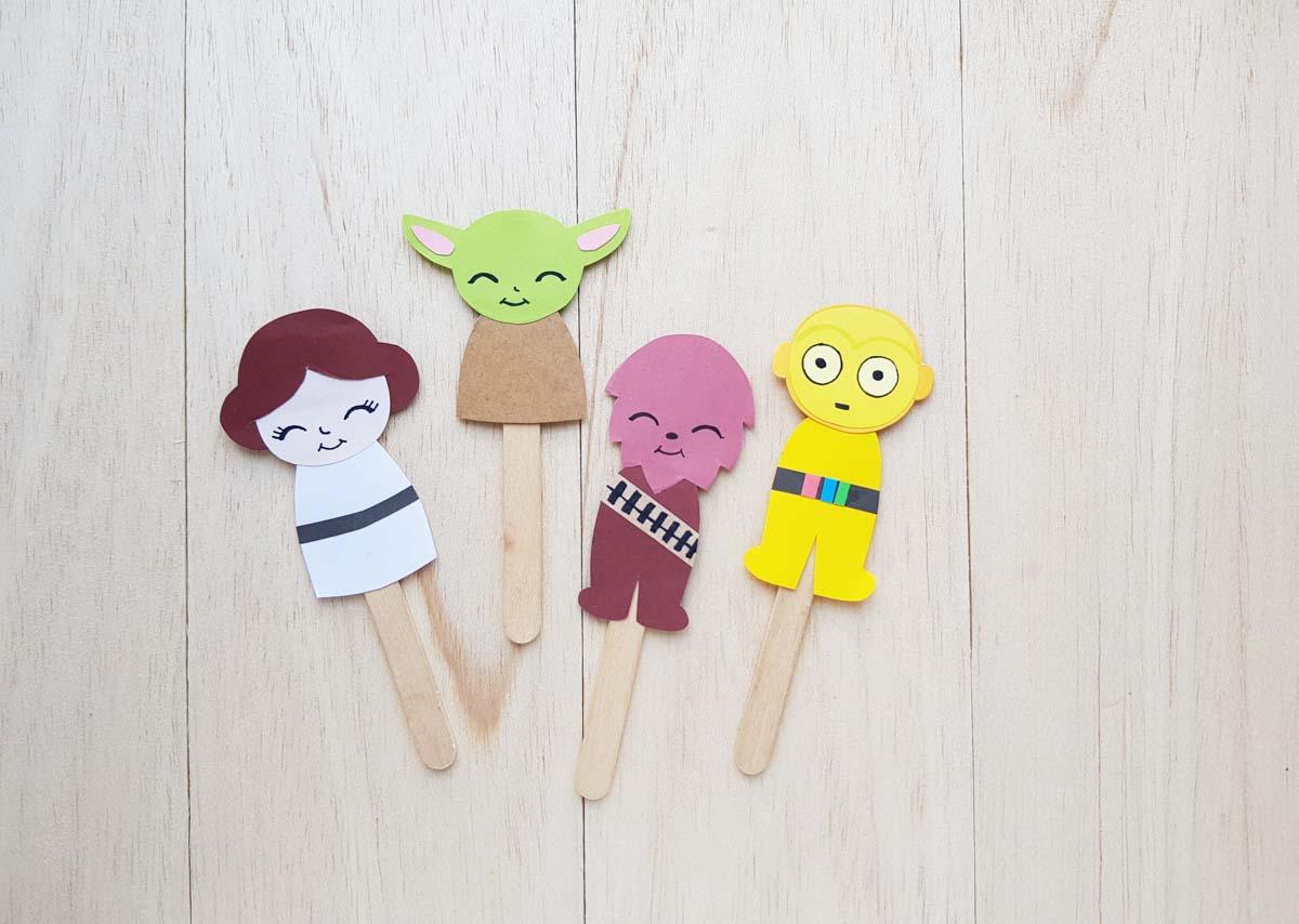 Star wars papercraft puppets on popsicle sticks