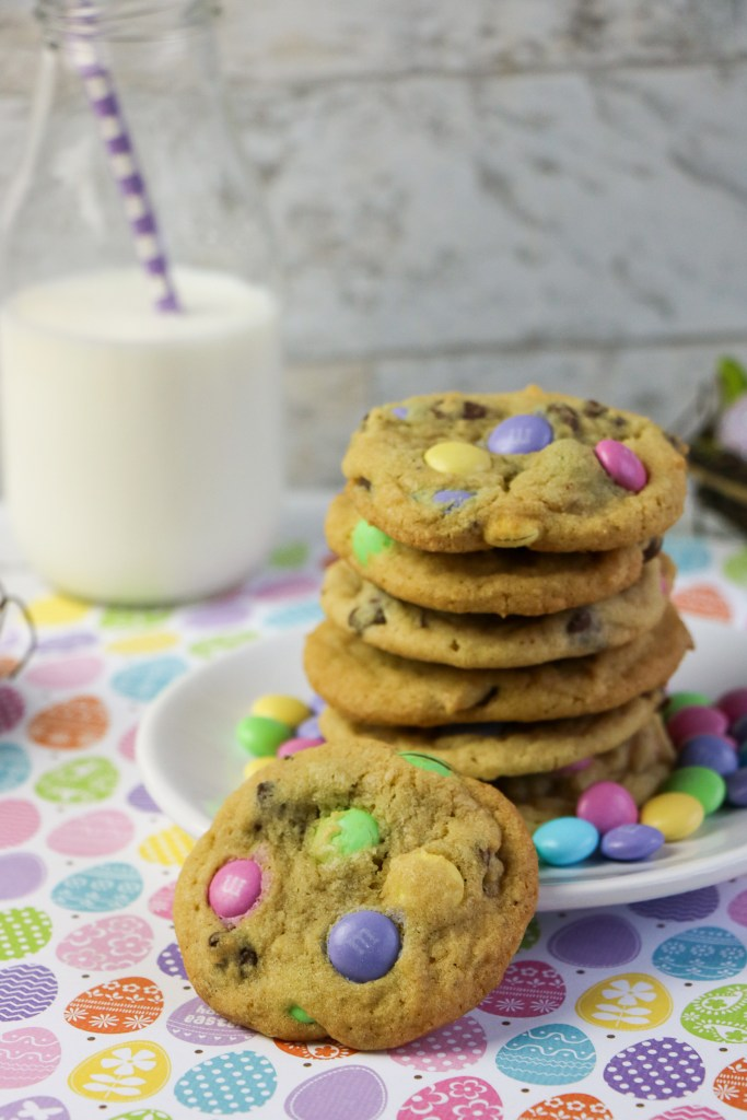 plate of easter m&m cookies on easter egg tablecloth
