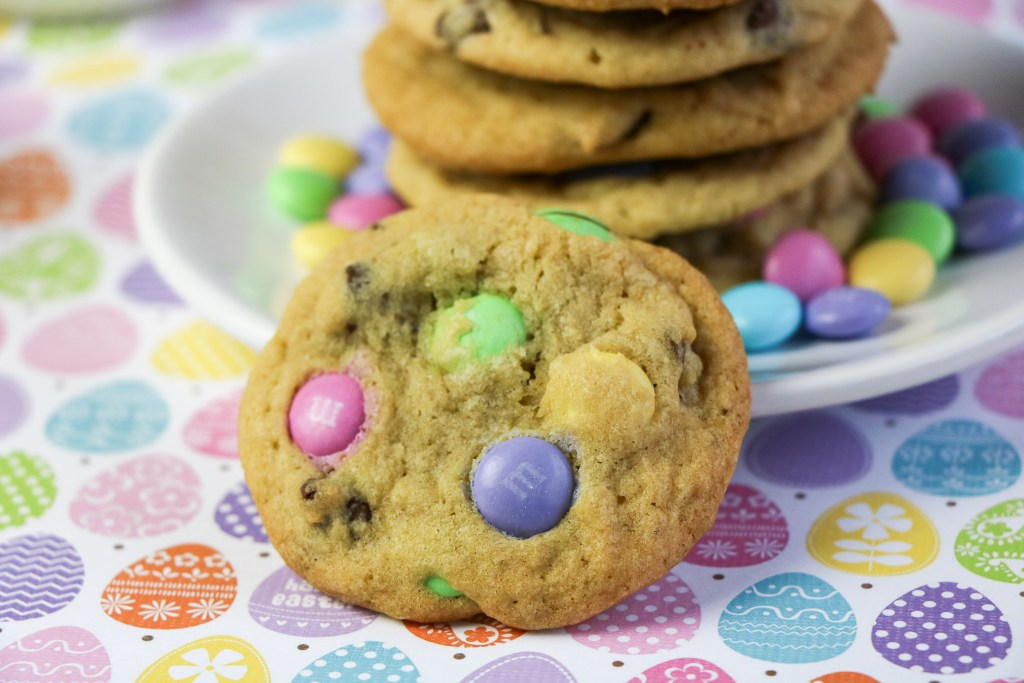 close up of easter m&m cookies on easter egg paper